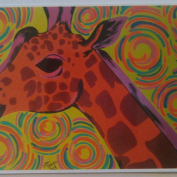 ACEO Print Orange Giraffe with Colorful Swirls 2.5 x 3.5 Inches Original Glossy Print Animal Art Gift Idea Collector Art Collection