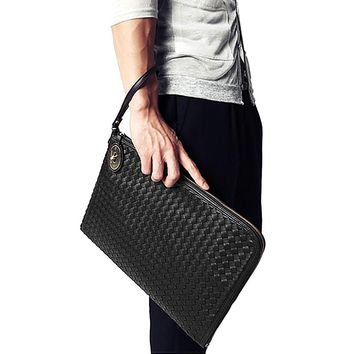 Personalized Woven England style PU Leather Men's Clutch