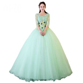 Candy Color Evening Prom Dress Luxury Appliques Three Quarter Lace Sleeve Ball Gown