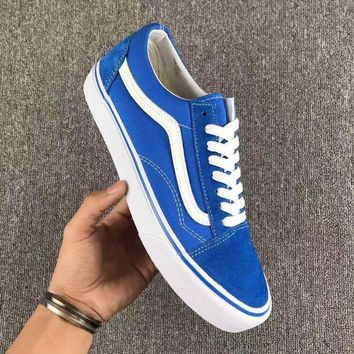 Vans Fashion Casual Trending Classic Canvas Old Skool Flats Sneakers Sport Shoes Blue G