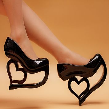 Sexy womens high hollow heel wedding shoes round toe patent leather punk style