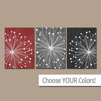 DANDELION Wall Art, CANVAS or Prints, Red Gray Black Bedroom Pictures, Bathroom Decor, Watercolor Art, Dandelion Set of 3 Home Decor