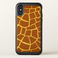 Brown Yellow Giraffe Skin Pattern iPhone X Case