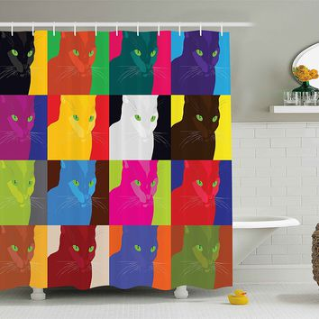 Cat Bold Pop Art Style Shower Curtain Featured Fractal Kitty Portraits Frame With Color Effects