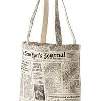 kate spade new york newspaper print canvas shopping tote - Black