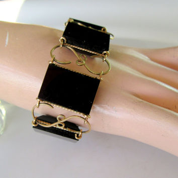 Bracelet Black Panel Link Trimmed In Gold Tone Wire Metal Vintage Collectible Item 2393