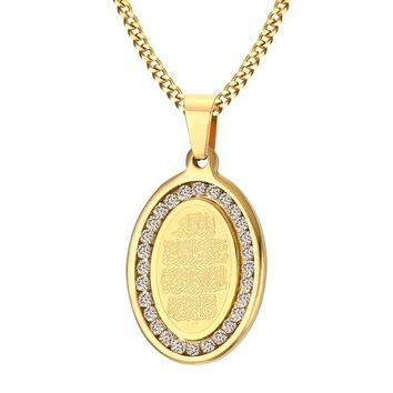 Mens Stainless Steel Gold Tone Oval Rhinestone Surrounded Allah Pendant & Necklace Islamic Arabic God Islam Muslim Jewelry Gift