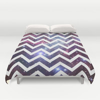 Nebula Chevron Duvet Cover by RexLambo