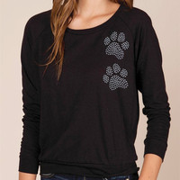 Double Paw Print Studded Slouchy Raglan Pullover