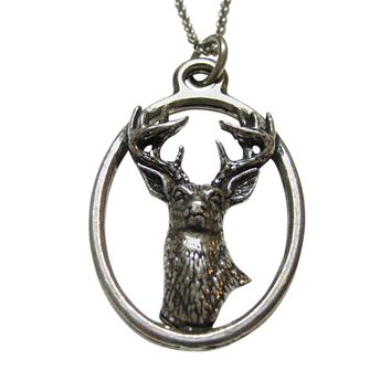 White Tailed Stag Deer Head Large Oval Pendant Necklace
