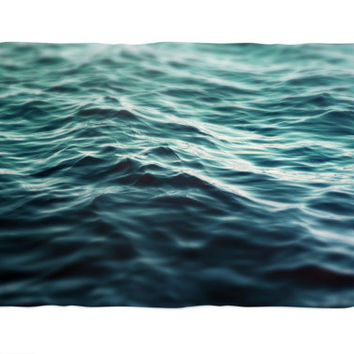 Dark Waters 3 - Fleece Blanket, Turquoise Blue Green Throw Cover, Beach Nautical Style Ocean Water Coral Fleece Accent. In 30x40 50x60 60x80