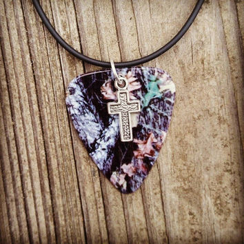 Mossy Oak Camo Camouflage guitar pick necklace with silver cross charm country southern farm girl jewelry Christian gift