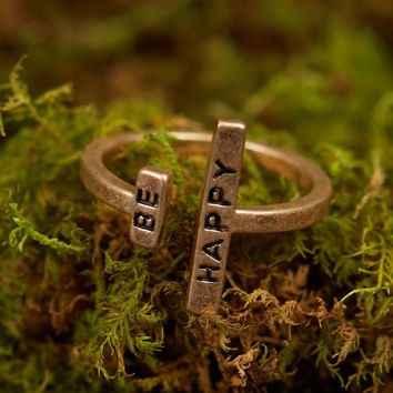 Altar'd State Sentimental Sayings Ring - Be Happy - Jewelry