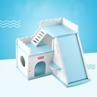 Cute luxury Small Animal pet Hamster house Bed wood chinchilla guinea pig House cage Nest hamster ladder toy Hamster accessories