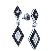 Black Diamond Ladies Fashion Earrings in 10k White Gold 0.64 ctw