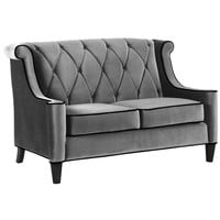 Barrister Loveseat In Gray Velvet with Black Piping