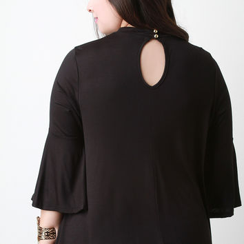 Bell Sleeves Mock Neck Keyhole Top