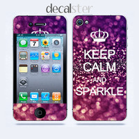 iPhone 4 Skin & iPhone 4 Decal Keep Calm Sparkle by Decalster