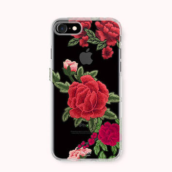 Floral iPhone 7 Case, iPhone 7 Plus Case, iPhone 6/6S Case, iPhone 6 Plus/6S Plus Case, iPhone 5/5S/SE Case, Galaxy Case - Rose Patch Print
