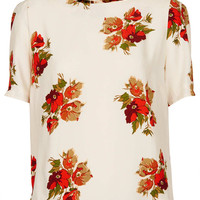 Floral Cut Out Back Blouse - Tops - Clothing - Topshop USA