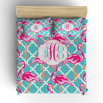 Flamingo BEDDING Comforter, Girl DUVET COVER, Aqua Hot Pink, Lily Pattern, Monogram Pillowcase, Toddler, Twin, Queen, King Set