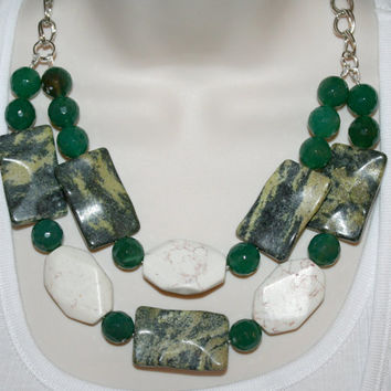 Huge Chunky Serpentine Statement Necklace Large Bold Faceted Green Agate Big White Turquoise Chunky Big Bead 2 Strand Satement necklace