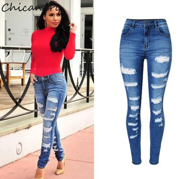 Chicanary Europe Fashion Ripped High Waist Stretchy Denim Jeans Skinny Pants Women Plus Size New Casual Jeggings Leggings