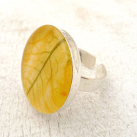 Pressed Flower Resin Ring - Neon Yellow Zucchini Flower in Resin - handmade botanical jewelry for nature lovers