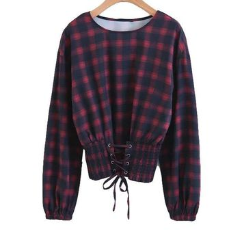 New Spring Autumn Women Blouse Plaid Elastic Lace-Up Shirts O Neck Bow Long Sleeve Lady Tops