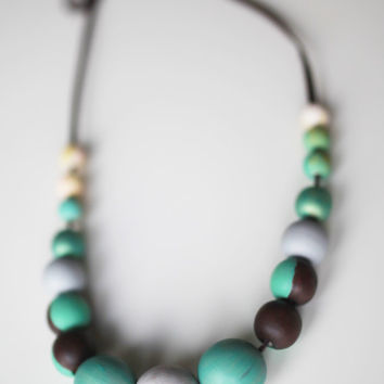 Mint and brown extra large necklace, chunky wooden beads, pastel ombre necklace, wood hand painted pastel necklace