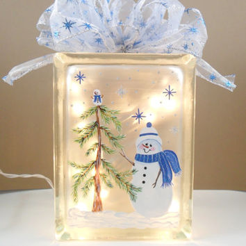 Lighted Glass Block Snowman Blue Hand Painted 7 3/4 x 5 3/4 x 4""