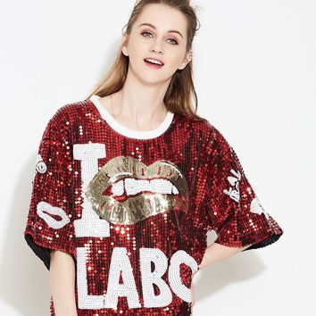 New Bling Stage Singer Performance Clothing Hip-Hop Street Dance Sequin Pullover Sequin T Shirt Women Mesh Top