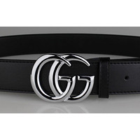 GUCCI Belt man leather belt double g smooth buckle belt