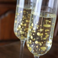 "Hand-Painted Wedding Champagne Flutes: ""You Go to My Head"" Toasting Flute Set"
