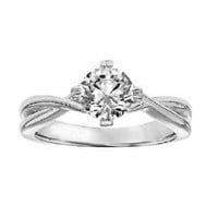 Ladies solitaire engagement ring setting in 14K white gold. - Engagement Rings