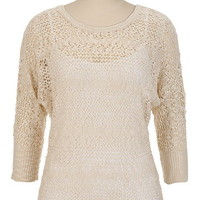 Thick Stitch Scoop Neck Sweater