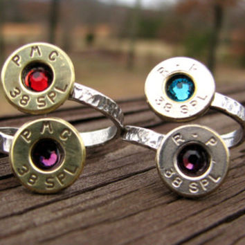 Bullet Ring- Couples Ring- Mothers Ring- Birthstone Ring- Ammo Ring- Mommy- Personalized- Bullet Jewelry- Eco Friendly- Boyfriend-Girlfriend