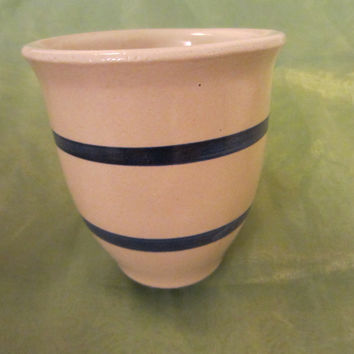 Roseville Ohio Pottery Kitchen Crock PRP USA Blue Stripes White Jar