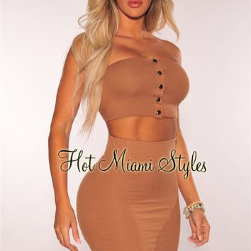 Mocha Ribbed Knit Button Strapless Two Piece Set