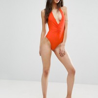 ASOS TALL Ruched Plunge High Leg Halter Swimsuit at asos.com
