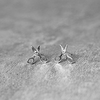 Mini Scissors Stud Earrings Sterling Silver By Fashnin.com