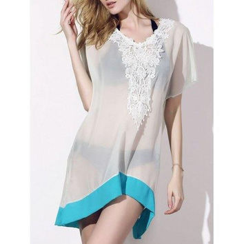 Sexy Scoop Neck Half Sleeve See-Through Laciness Women's Cover-Up