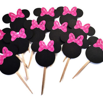 Minnie Mouse Cupcake Toppers - Minnie Mouse Party - Minnie Mouse Decorations - Pink Minnie Mouse Bows - Cupcake Toppers