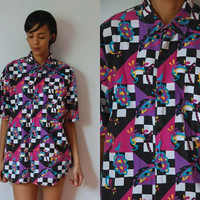 Vtg Men's Mix Print Checkered Abstract SS Button Up Cotton Shirt