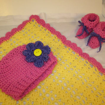 Baby Girl's Pink and Yellow Crocheted Blanket, Hat, and Booties Layette Set
