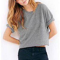 Gray Plain Loose Crop Tank T-Shirt
