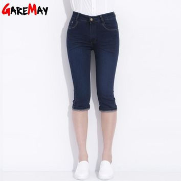 Jeans Capri For Women Pantaloon Denim Summer Elastic High Waist Jeans Donna