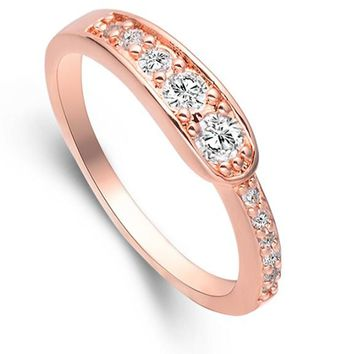 Cubic Zircon Rose Gold Color Silver Ring