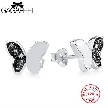 GAGAFEEL 925 Sterling Silver Stud Earrings Stud Pending For Women Girls Butterfly Shape Hot To Lover Mom Gifts