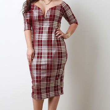 Plaid Off Shoulder Elbow Sleeves Bodycon Midi Dress